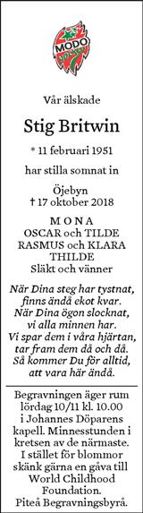 telegram begravning piteå